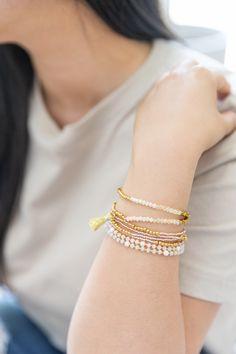 Our Beaded Bracelet Stack Favs Complimentary Colors, Verbena, Stone Bracelet, Gold Beads, Shades Of Green, Fashion Bracelets, Jade, Beaded Bracelets, Turquoise