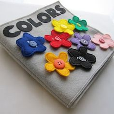 COLORS Fabric Quiet Book - PDF Pattern - love this! I like the button flowers. Diy Quiet Books, Felt Quiet Books, Felt Crafts, Fabric Crafts, Quiet Book Patterns, Pdf Patterns, Busy Book, Book Activities, Sewing Projects