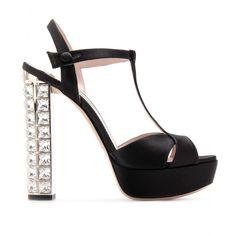 Platform Sandals With Embellished Heel ∫ Miu Miu ☼ mytheresa.com