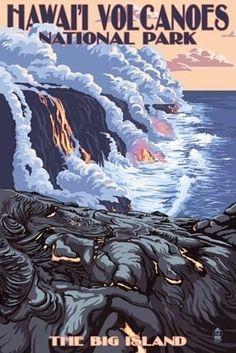 The Big Island, Hawaii - Lava Flow Scene - Lantern Press Poster ~ Vintage Travel Poster National Park Posters, Us National Parks, Parc National, Hawaii Volcanoes National Park, Volcano National Park, Hawaii Vintage, Vintage Hawaiian, Nationalparks Usa, Voyage Usa