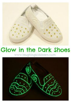 Children make glow in the dark shoes as a fun activity or great for gifts. Lots of fun to be had.  Laughing Kids Learn