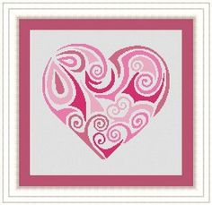 Pink tribal heart cross stitch pattern on Etsy.com - LudivinePointDeCroix, $4.65