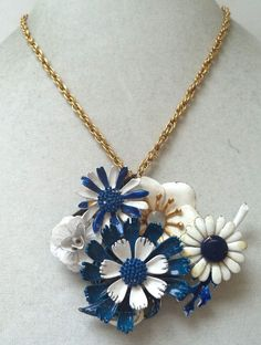 STUNNING VINTAGE ESTATE OOAK ONE OF A KIND ENAMEL FLOWER NECKLACE!!! G2267