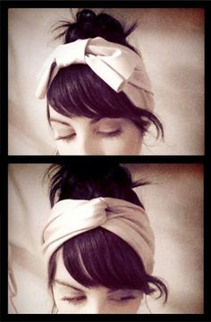 What a Lady Bow turban on Etsy. Perfect for throwing hair into a bun or pony and still looking fab. And, it's reversible!