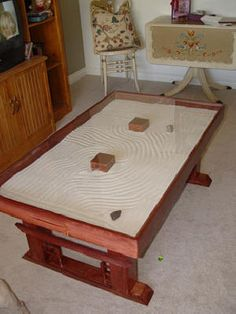 zen garden coffee table - this could be an interesting thing to design and try myself!