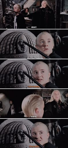 Harry Potter - Draco and Lucius Malfoy.extended version of the movie Harry Potter Deleted Scenes, Harry Potter Jokes, Harry Potter Cast, Harry Potter Fandom, Harry Potter World, Draco Malfoy Quotes, Albus Severus Potter, Draco Malfoy Imagines, Harry Potter Draco Malfoy