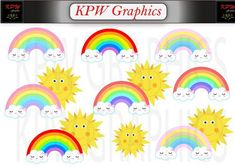 Sunshine and Rainbow Clip-art Set in a PNG format. Personal & Small Commercial use. Clipart Images, School Projects, Sunshine, Commercial, Clip Art, Rainbow, Scrapbook, Invitations, Messages