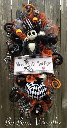 Jack Skellington Wreath Halloween Wreath Halloween by BaBamWreaths