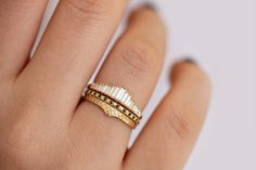 Vintage engagement rings 251990541638068757 - Delicate Wedding Band – Patterned Ring – ARTEMER Source by Cmllmssrt Morganite Engagement, Rose Gold Engagement Ring, Engagement Ring Settings, Vintage Engagement Rings, Baguette Engagement Ring, Baguette Diamond Rings, Diamond Stacking Rings, Halo Engagement, Tiara Ring