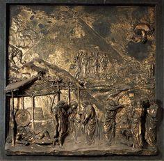 """Lorenzo Ghiberti, """"El Diluvio"""", placa en bronce dorado en La puerta del Paraíso, 76 x 76 cm. Baptisterio."""