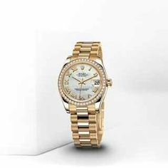 """Ladies """"crown"""" yourself with this 'Date Just Lady 31' Oyster, 31mm yellow gold.  rolex.com"""