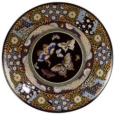 A Large probably Japanese Cloisonné Charger from Meiji Period   From a unique collection of antique and modern cloisonne at https://www.1stdibs.com/furniture/more-furniture-collectibles/cloisonne/