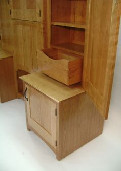 The opposite side hutch features just as much storage, but with a larger drawer.