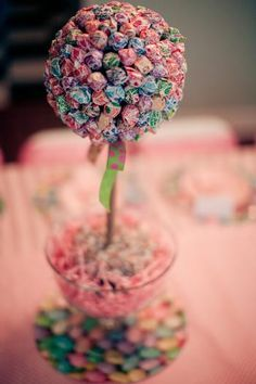 dumdum tree center piece for a candy themed birthday party