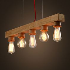EDISON Native Wood Handmade Wooden Chandelier Hanging LED Pendant Lamp – AUD $ 165.87