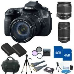 Canon EOS 60D DSLR Camera Kit with Canon EF-S 18-55mm f/3.5-5.6 IS Autofocus Lens + Canon EF-S 18-135mm f/3.5-5.6 IS Lens + Canon EF-S 55-250mm f/4-5.6 IS Autofocus Lens + 8GB Shooter Kit $1,559.00