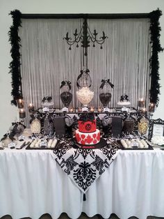 Black And White with a touch of red lolly buffet Birthday Party Ideas | Photo 1 of 14 | Catch My Party