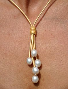 pearl and leather necklace tutorials | Pearl and Leather Necklace - 5 Pearl Metallic Gold Lariat - Pearl and ...