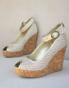 Tan & White Chevron Alma Ankle-Strap Wedge