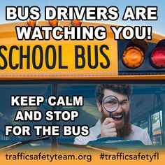 "It's National School Bus Safety Week and we've got some ""wise words"" to think about. (Brought to you by Walt, one of our wonderful Community Traffic Safety Team volunteers! School Bus Safety, Safety Week, National School, Bus Driver, Bus Stop, Volunteers, Wise Words, Meme, Community"