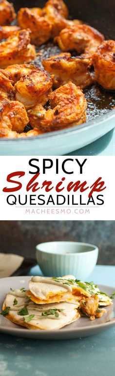 These simple shrimp quesadillas are packed with spice and flavor and prove the exception to the seafood/cheese rule. It can work and it's very delicious. Vegetarian Mexican Recipes, Authentic Mexican Recipes, Spicy Recipes, Fish Recipes, Seafood Recipes, Pasta Recipes, Dinner Recipes, Cooking Recipes, Healthy Recipes