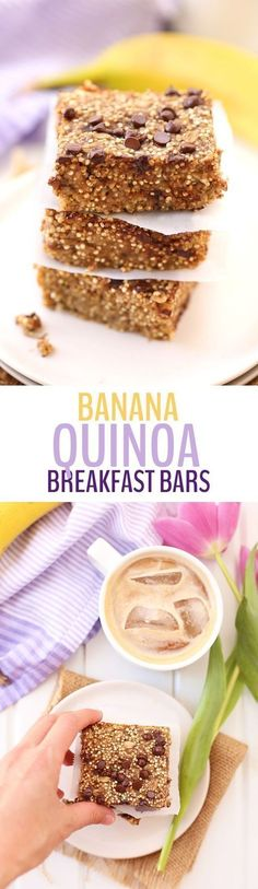 Get your quinoa first thing in the morning with these Banana Quinoa Breakfast Bars. An easy, make-ahead breakfast that is vegan, refined-sugar-free and absolutely delicious. Great on the go healthy breakfast for kids! Breakfast On The Go, Make Ahead Breakfast, Healthy Breakfast Recipes, Breakfast Ideas, Sweet Breakfast, Frozen Breakfast, Dinner Healthy, Weight Watcher Desserts, Vegan Desserts