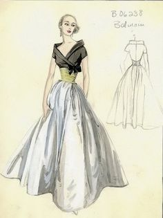 Pierre #Balmain original sketch for a ball gown in white satin with bodice of black silk charmeuse and a gold-coloured wrapped waist detail