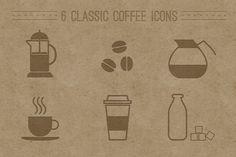 6 Classic Coffee Icons by shonachica on Creative Market - Coffee Icon - Ideas of Coffee Icon - 6 Classic Coffee Icons by shonachica on Creative Market Coffee Icon, Coffee Logo, Coffee Illustration, Pencil Illustration, Cafe Rico, Flat Web Design, Ppt Design, Design Ideas, Graphic Design
