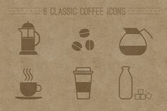 6 Classic Coffee Icons by shonachica on Creative Market