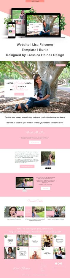 Lisa Falconer website custom designed by Jessica Haines Design. If you are ready to take your business to the next level with a website that looks good and makes you money, click through to see what you new website could look like!   www.jessicahainesdesign.com Banner Images, Creating A Business, Graphic Design Projects, Portfolio Website, Design Process, Portfolio Design, Designer, How To Find Out, Branding Design