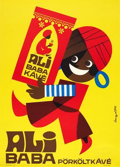 Ali Baba coffee Hungarian poster Decorative commercial poster by Sándor Lengyel who was a very sought-after graphic designer in the 1960s and 70s. He mostly designed commercial posters and he was famous for his cartoon-like style. In the 1960s and 70s a great cavalcade of styles were applied by artists, and this cartooonish manner was among the most popular ones, however, Lengyel managed to add his unique tone to it.