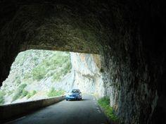 road cut through mountain, France (photo taken 2009)