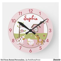 Baby Shower Supplies, Baby Shower Themes, Baby Shower Decorations, Baby Shower Gifts, Wall Clock Nursery, Farm Nursery, Nursery Ideas, Personalized Clocks, Baby Girl Gifts