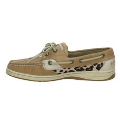 Women's Bluefish 2-eye Boat Shoe, in Linen/Leopard Pony. $85.00, Size 8