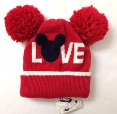 24a3973cfa7ef2 NEW Baby Gap MICKEY MOUSE LOVE POM BEANIE Disney Red Ears Winter Knit Hat  Girls #