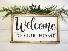 Wood Pallets Ideas Welcome sign, welcome to our home sign, reclaimed wood sign, black and white welcome sign, rustic we - Reclaimed Wood Signs, Diy Wood Signs, Wall Signs, Recycled Pallets, Wood Pallets, Simple Signs, Pallet Creations, Home Signs, Sign Design