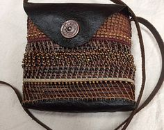 Unique Beaded Pine Needle Evening Shoulder Bag with Leather Strap and Flap Handmade Handbags, Vintage Handbags, Basket Weaving, Hand Weaving, Pine Needle Baskets, Spiral Pattern, Brown Leather Handbags, Pine Needles, Handbags Michael Kors