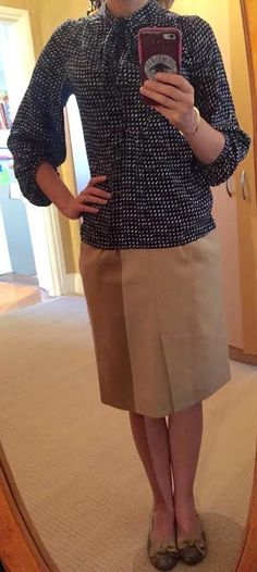 The Girl With Nothing to Wear: Blue blouse, camel skirt, work style, spring style