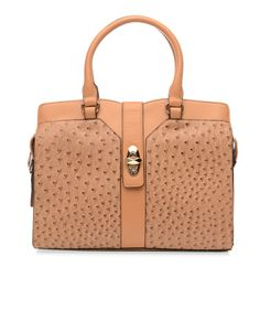 BLOSS AND CO   Roberta Ostrich Tote in Light Tan - Women - Style36  #style36 #xmasshopping #wishlist