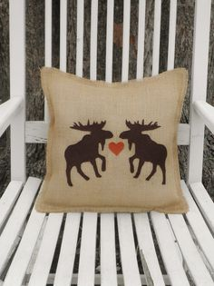14x14 Moose Love Natural Burlap Fringe Pillow by theartsyhippie on Etsy, $17.50