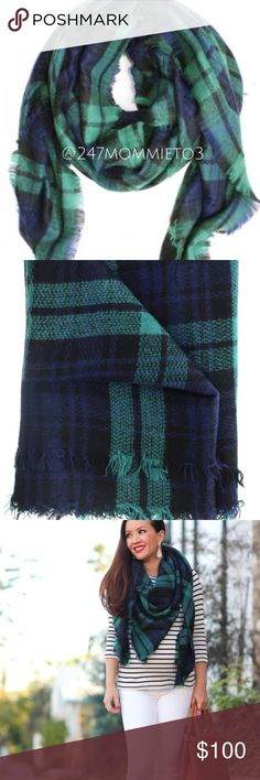 """PREORDER: Wool-blend Tartan Blanket Scarf 🍁 PREORDER: New in packaging! Please like this listing to be notified when I receive this scarf! 🍁 (ONLY SCARF FOR SALE! ) Made of high-quality soft wool-blend. Weight is approximately 8.21 oz. Please note that these are not the low-quality, smaller blanket scarves that you see at department stores! $22 is a steal! First two pictures is the actual scarf. Measures approximately 57""""x57"""". PRICE IS FIRM ON BOUTIQUE ITEMS!  ❌No Trades❌ Boutique…"""
