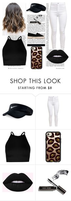 """""""Back to Black"""" by really-rayy ❤ liked on Polyvore featuring Nicki Minaj, NIKE, Boohoo, Casetify, Bobbi Brown Cosmetics and Chie Mihara"""