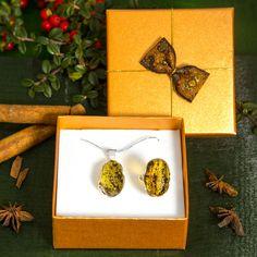 Borostyán medál és gyűrű ajándékcsomag