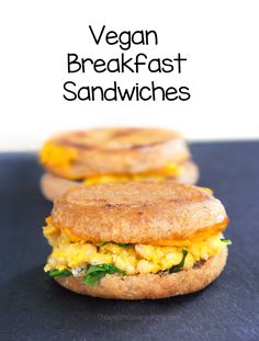 Totally vegan and soy-free, this vegan breakfast sandwich recipe is an easy, healthy recipe to take on the go!