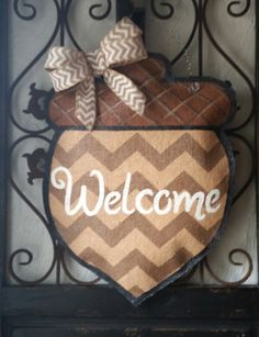 Happy fall y'all acorn door hanger hand by ConnieRisleyCrafts