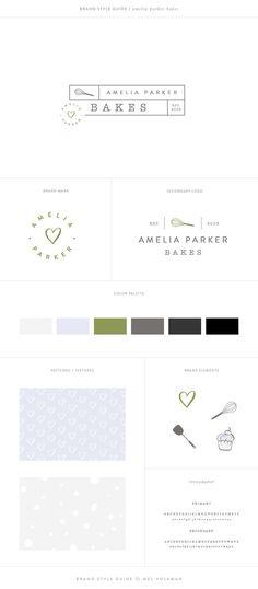 Amelia Parker Bakes Brand Style Guide Brand Board Bakery Brand Design Mel Volkman St Augustine Graphic Design Web Design Modern Food Blog Design