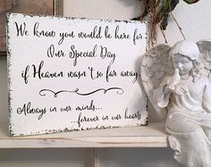 MEMORY TABLE SIGN, In Memory of Sign, Wedding Signs, We know you would be here on Our Special Day if Heaven wasn't so far away, 8 x 10