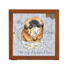 My Pekingese Ate my Lesson Plan Desk Organizer   pug tshirts, pug quotes, husky pug #christmasgiftideas #pugoftheday #hugapug Art Beagle, Beagle Dog, Pug Quotes, Small Pug, Back To School Gifts, Pekingese, Dog Eating, Dog Recipes, Desk Organization