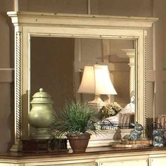 Crafted of New Zealand pine wood, this charming mirror pairs a hand-rubbed, antiqued white finish with carved twist detailing.      Produ... Joss And Main, Dresser With Mirror, Wall Mirror, Huge Mirror, Dresser Top, Dresser Drawers, Shabby, Hillsdale Furniture, Fireplace Mantle