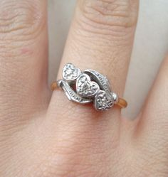 Antique Engagement Ring Vintage Diamond Hearts Ring by luxedeluxe